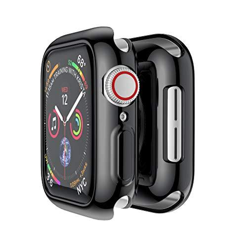 MMLC Apple Watch Series 4 44mm Hülle Displayschutz Case Überzug Schutzhülle Ultra-Slim Plating TPU Protective Bumper Case Cover (Black) -