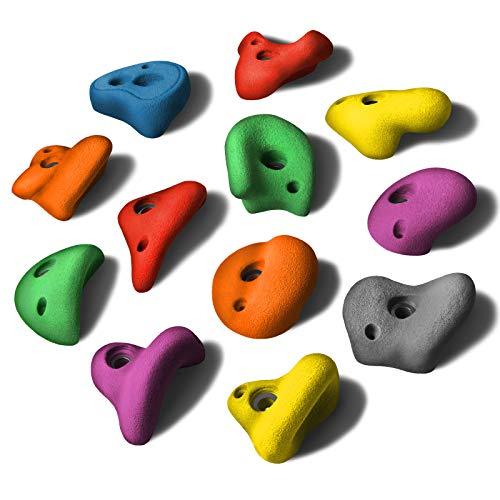ALPIDEX 12 L Klettergriffe im Set Henkelgriffe für Kinder, können als Henkel und teilweise als Zangen gegriffen Werden, verwendbar auch als Tritte, Farbe:Mixed Colour