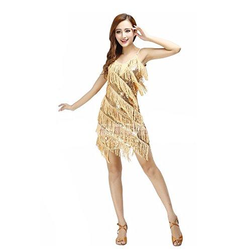 uchtanz Kostüm Für Frauen Quasten Bauchtanz Outfit Gold Blau Quasten Latin Dance Kleid Rock Kostüm Body Pailletten Kurzen Rock Leistung Kostüm (Tango Tänzer Halloween Kostüm)