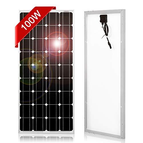 Fiabilidad    Este panel de 100 W está compuesto por células solares monocristalinas, que le dan una de las más eficientes por espacio.    Marco de aluminio resistente a la corrosión para uso exterior extendido, lo que permite que los paneles dure...