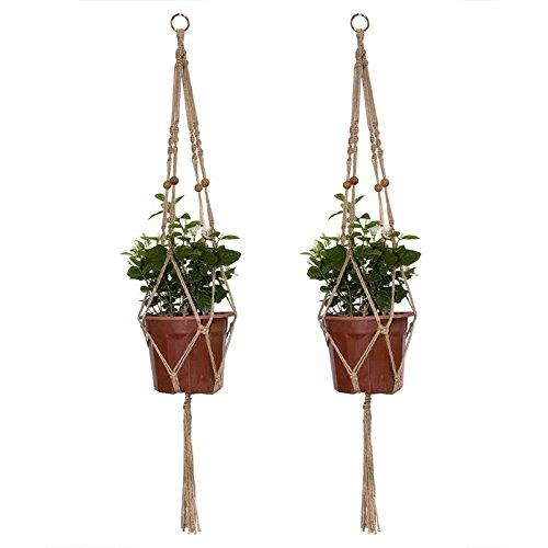 iRurality Pflanzen Makramee- Blumenampel mit Perlen, 4 Beine   41 Zoll Pflanzenhänger für Pflanzschalen für Innen- oder Außen (Packung mit 2)