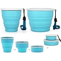 HomeTop Set di 2grandi dimensioni 100% silicone pieghevole bicchieri, Colorful retrattile acqua tazze, tazze Compatto con cinghia da polso, scompartimento nascosto, bicchieri per viaggio casa lavoro, Blue, 250ml&550ml