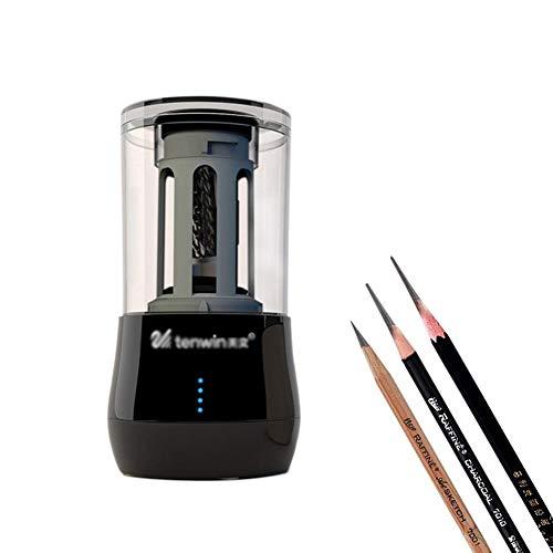 Sacapuntas Eléctrico Automático para Oficina Escuela, Sacapuntas profesional con USB e batteria al litio/spina lápices para afilar Sacapuntas Lápices de colores,Black