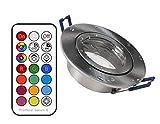 3xLed Feuchtraum Einbaustrahler eisengebürstet+RGB Led + kaltweiß dimmbar mit Timer, memorie Funktion und Fernbedienung 230V