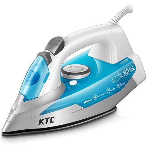 KTC Fer à Repasser 2400W - Fer à Vapeur - 300 ml - Bleu (anti-tartre, système anti-goutte,...