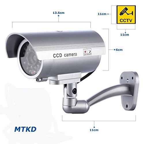 MTKD Cámara Simulada Falsa Inalámbrica e Impermeable. Sistema de Vigilancia Camara Simulada con IR LED Luz Piloto Intermitente para mayor Credibilidad.