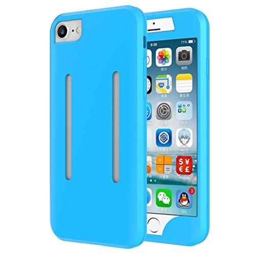 Mobiltelefonhülle - 2 in 1 für iPhone 7 Dual Control Sport Armband mit abnehmbarem Premium Silikon Case ( Farbe : Schwarz ) Blau