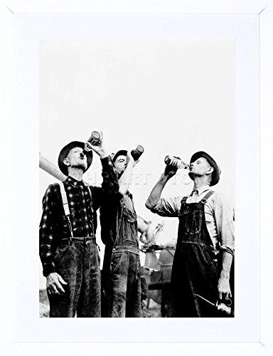 9x7 '' PHOTO JACKSON MICHIGAN FARMERS DRINKING BEER FRAMED ART PRINT F97X1731 (Framed Photo Jackson)