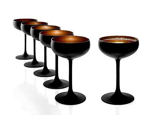 Stölzle Lausitz Olympic Sektschalen 230 ml, 6er Set, Sektgläser in schwarz (matt) und bronze, spülmaschinenfest, bleifreies Kristallglas, hochwertige Qualität
