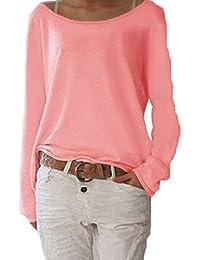 ZANZEA Mujer Camiseta Con Manga Larga Cuello Redondo Camisa T Shirt Blouse Sudadera Tops
