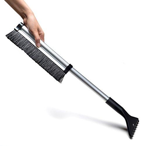 Rascador de hielo Cepillo para la nieve Rasqueta para hielo limpiacristales y cepillo quitanieves (con agarre telescópico suave, orientable)