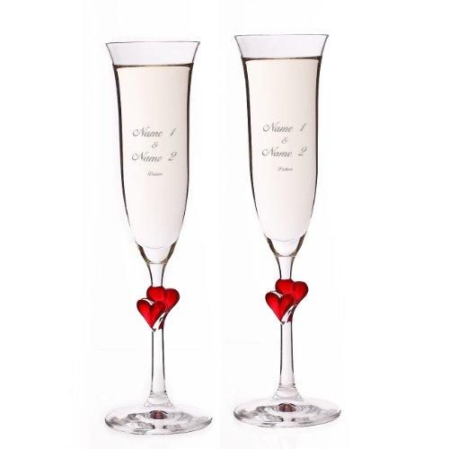 Stölzle Lausitz 2er Set L'Amour Sektgläser mit roten Herzen zur Hochzeit - Gravur mit Namen und Hochzeitsdatum Gratis