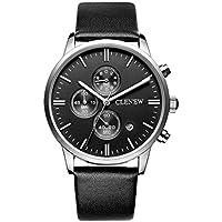 harrystore moda uomo casual Vintage Sport Data in pelle analogico al quarzo in acciaio inox orologio da polso, Black E, 25.5cm