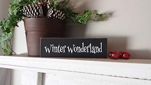 Tiukiu Winter Wonderland Urlaubsschild Winterdeko Bauernhaus Stil Kleines Holzschild Schnee Dekor -