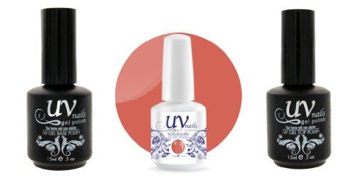 UV-Nails Vernis a Ongles Soak-Off Gel 15ml Sunset Diva #211 + Base & Top Coat 15ml + Aviva Polissoir a ongles