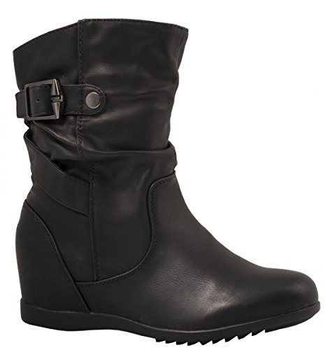 Elara Damen Stiefeletten | Flache Lederoptik Boots | Zipper Profilsohle Schwarz