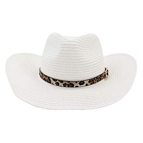 XY-women's hat Elegant Western Cowboyhut Herren Strand Outdoor Strandhut Visier Leopard Ledergürtel Dekoration Große Sonnenhut Stilvoll (Farbe : Weiß, Größe : 56-58CM) - Leopard Hat Womens