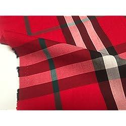 Tartán De Cuadros Escoceses camiseta material de la tela de algodón, 145cm de ancho/Color Negro y Rojo–(se vende por metro)