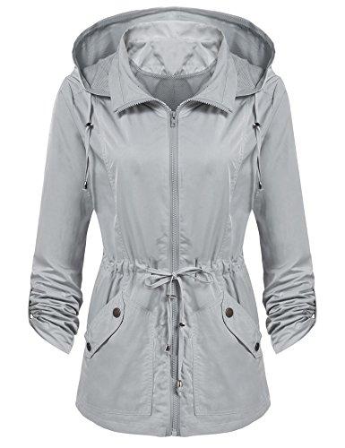 Beyove Damen Regenjacke Windbreaker Wasserdicht Regenmantel Herbst Jacke mit Anorak Kapuze (Kapuzen-anorak-jacke)
