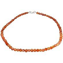 Karneol Hals-Kette orange Ø 5 x 7-9mm, Länge 45cm mit Silber 925 Verschluss