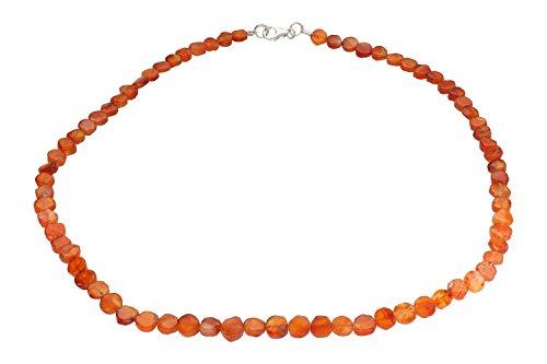 Orange 8x10 Bereich (Karneol Hals-Kette orange Ø 5 x 7-9mm, Länge 45cm mit Silber 925 Verschluss)
