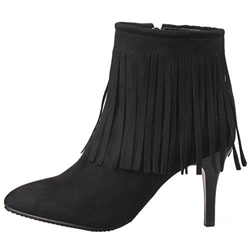 ENMAYER Femmes Chelsea Nubuck Nouveau Pointed Toe High Heel Zip Tassel Bottines Noir