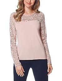 Bellivalini Blusas Encaje Camisetas Mangas Largas Camisas Ropa Elegante Cóctel Mujer BLV50-132