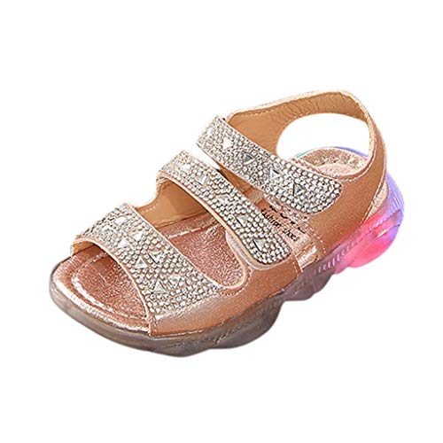 WFRAU Kinder 2 Bowknot Leuchten LED Sandalen Mädchen Baby Mode Aushöhlen Pure Farbe Prinzessin Schuhe Karneval Party Schuhe Sneaker,Kleinkind Atmungsaktiv Outdoor Turnschuhe Laufschuhe Sportschuhe -