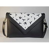 Bolso de piel estampado con pájaros