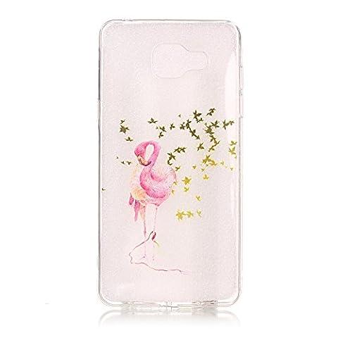 Coque Samsung Galaxy A3 2016 en Silicone, Coffeetreehouse Antichoc Ultra Mince Résistant Case Cover Souple Animé Dessin Original et Fine slim silicone Gel TPU Protecteur Case Pour Samsung Galaxy A3 2016--Flamingos