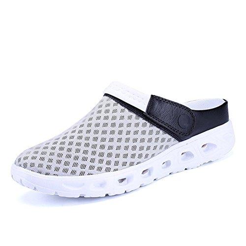CCZZ Herren Damen Atmungsaktiv Mesh Sandalen Sommer Hausschuhe Rutschfest Outdoor Sport Pantoletten Sandalen Slip-On Garden Clogs (EU 44, Grau-weiß)