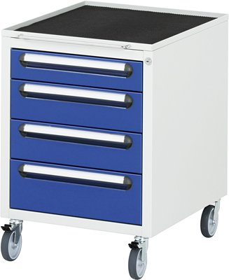 Preisvergleich Produktbild Rollschrank BxTxH 490x600x690 mm, Schubladen: 1x90 , 2x120, 1x150 mm, Geh.RAL 7035 lichtgrau, Front R