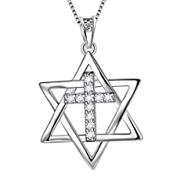 Aurora Tears 925 Sterling Silver Star of David Necklace Star Pendant Jewish Jewelry Religious Judaica Gifts for Women DP0167W