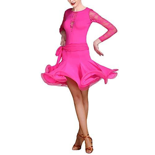 FESSLAND-CL Damen Performance Kleid Frauen Langarm Rundhals Spitze Ballsaal Latin Dance Kleid Anzug Leistung Wettbewerb Professionelle Praxis Dancewear Party Dance Rock Kostüm Set