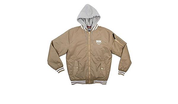 e444a2ab30d8c DGK Men's Attack Bomber Jacket Khaki Brown 3XL: Amazon.co.uk: Clothing