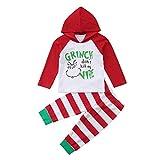 i-uend Baby Weihnachten 2 Stück Sets - Baby Girl Boy Infant Weihnachten Hooded Tops gestreifte Hose Set 2 Stück Outfit Kleidung für 0-24 Monate