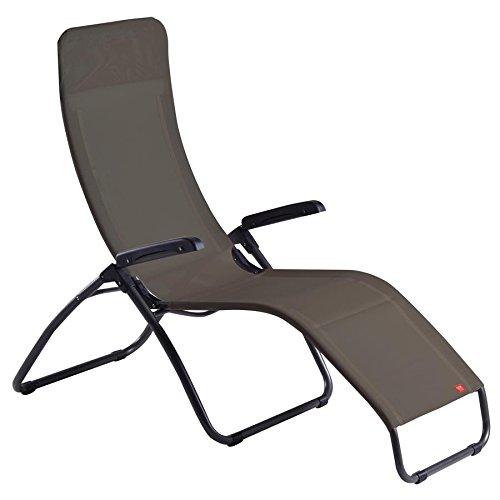 Sedia a sdraio tango fiam basculante con poggiatesta poltrona a sdraio ergonomica per esterni per giardino, terrazzo, campeggio e spiaggia - acciaio antracite, texfil tortora made in italy