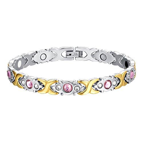 Oidea Damen Magnet Armband, Edelstahl Strass Gesundheit Magnetarmband Armkette Armreif Armschmuck , silber gold (Das Tägliche Zeichen Dafür Ist Halloween)