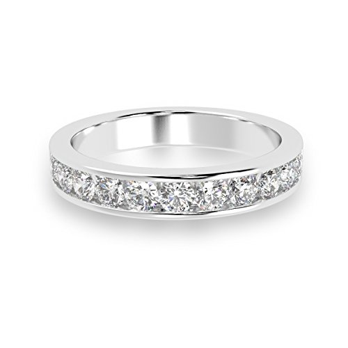 3mm 1/2 Ct Round Diamond Channel Set Half Eternity Ring in 18k White Gold