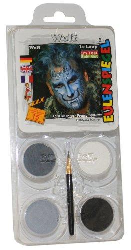 Eulenspiegel 204412 - Schminkset Wolf, Pinsel und Anleitung, 4 Farben (Wolf Halloween Make Up)