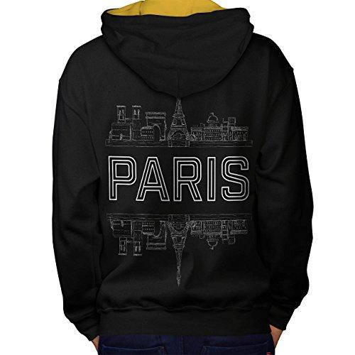 Weiblich Kostüm Frankreich (Paris Stadt Entwurf Frankreich Symbol Men M Kontrast Kapuzenpullover Zurück  )
