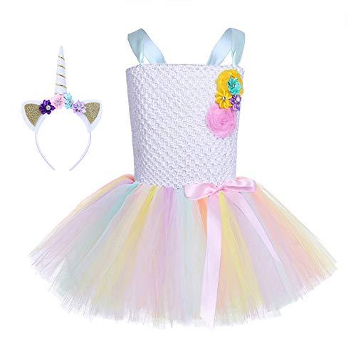 FONLAM Vestido de Princesa Fiesta Niña Disfraz de Unicornio Cumpleaños Tutú Vestido...