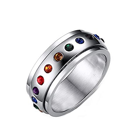 Heyrock Rotating Spinner Ring for Women Rainbow Crystals Stone Stainless Steel Jewelry