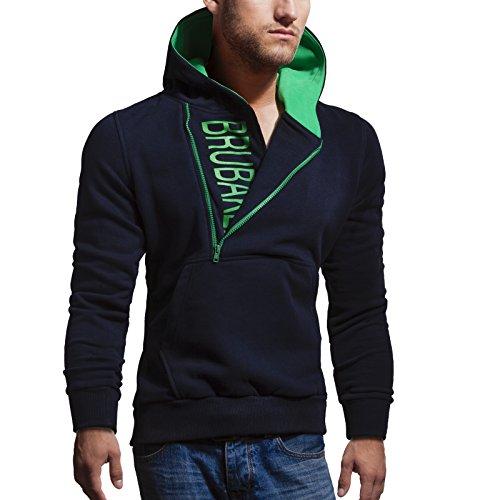 BRUBAKER Herren Label Sweatshirt mit Kapuze in 20 Farben Gr. M - XXL Navy / Grün