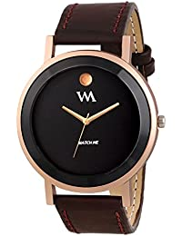 Watch Me All Black Collection Black Dial Brown Leather Strap Watch For Men And Boys WMAL-331-M WMAL-331-Mrto4