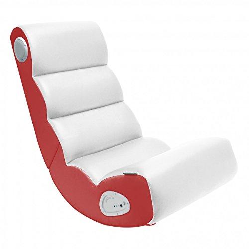 FineBuy Soundchair WAVE in Weiß Rot | Musiksessel mit eingebauten Lautsprechern | Multimediasessel für Gamer | Musiksessel 2.1 Soundsystem - Subwoofer | Music Gaming Rocker Racing Chair