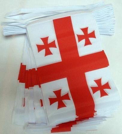 Georgien 12 (AZ FLAG FAHNENKETTE GEORGIEN 12 Meter mit 20 flaggen 45x30cm- GEORGISCHE Girlande Flaggenkette 30 x 45 cm)