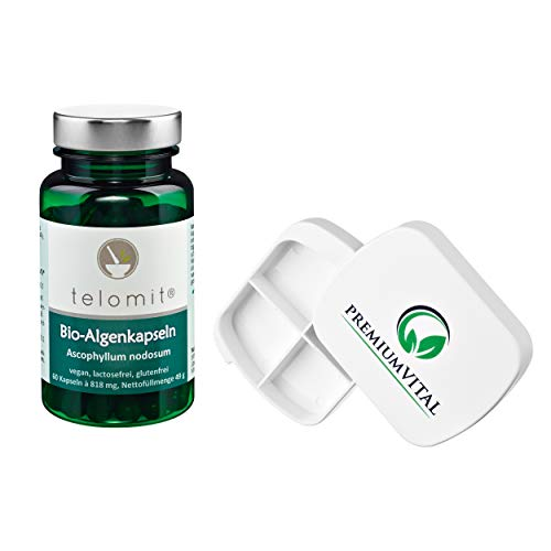 t e l o m i t ® Bio-Algenkapseln - natürlich - vegan - lactosefrei - glutenfrei ( 1x 60 Kapseln ) - Sparangebote + GRATIS Pillendose von Premiumvital -