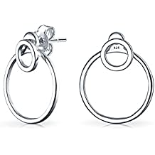 Bling Jewelry 925 plata doble círculo abierto Frontal Trasera pendientes