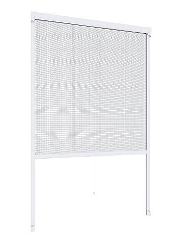 Windhager Insektenschutz Rollo Fliegengitter Alurahmen für Fenster, individuell kürzbar, 100 x 160 cm, weiß